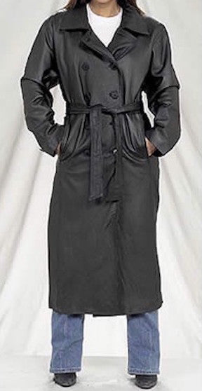 Ladies Long Leather Coat with Zip Out Lining
