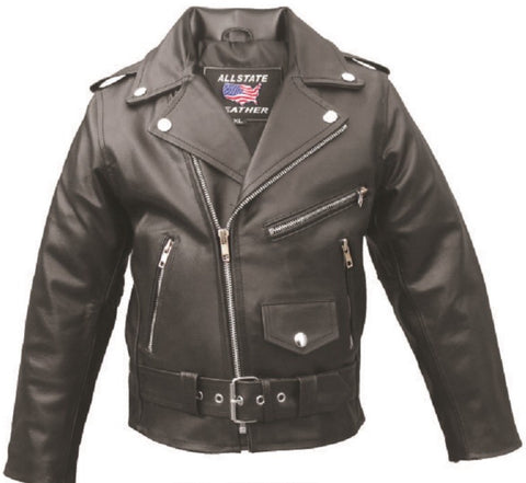 Kids Black Classic Lambskin Leather Light Weight Motorcycle Jacket