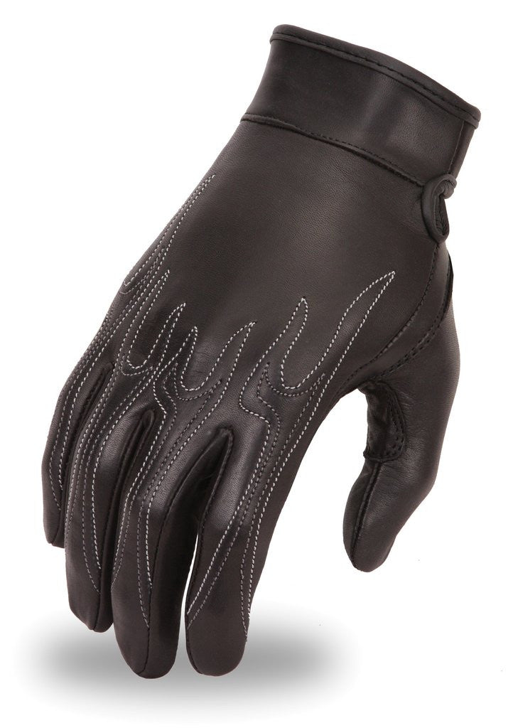 Womens Premium Analine Cowhide Motorcycle Glove with Emroidered Flame Design