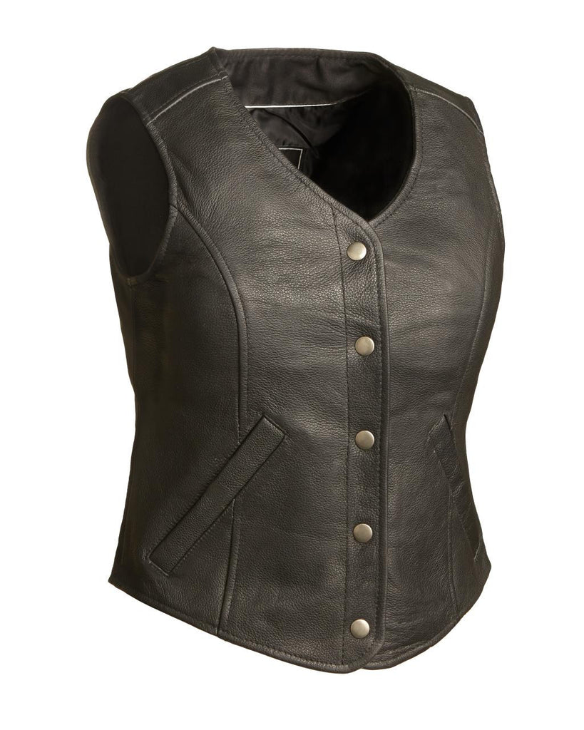 Derringer Women's Black Leather Motorcycle Vest with Snap Front & Gun Pockets