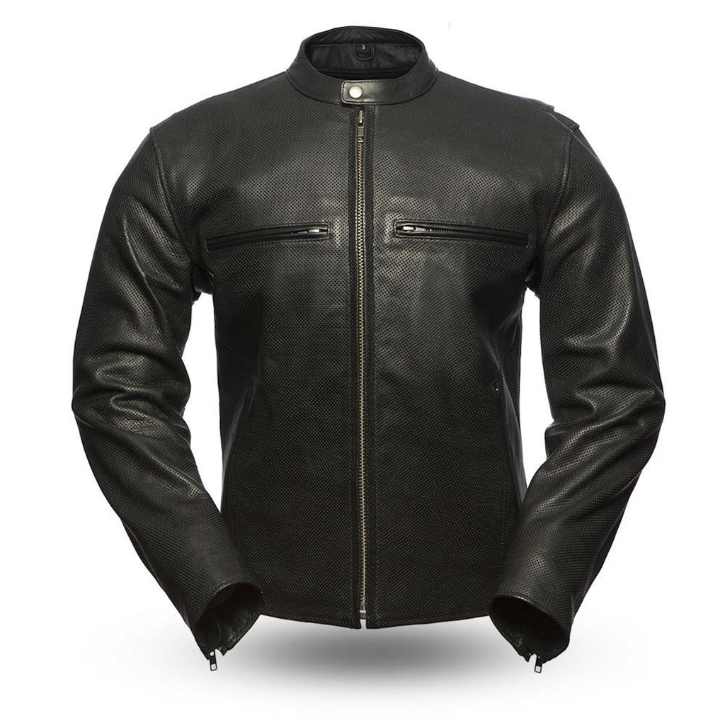 Turbine Perforated Naked Leather Motorcycle Jacket Armor Pockets Vented Chest Pockets