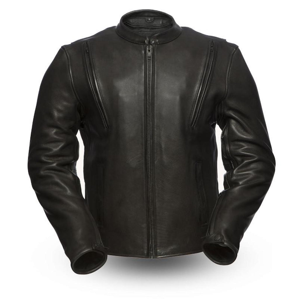 Revolt 1.4mm Leather Scooter Style Motorcycle Jacket Armor Pockets Gun Pockets