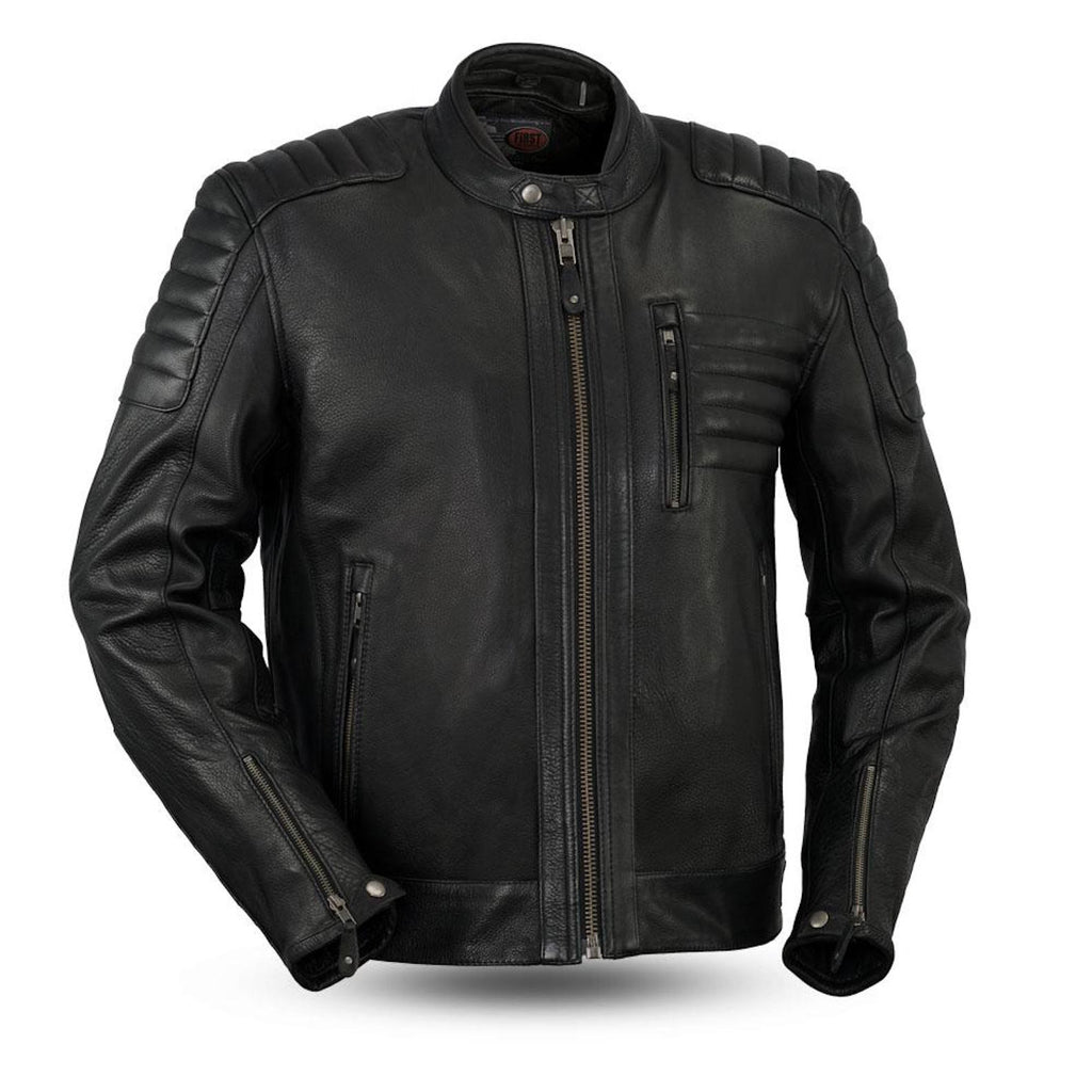 Defender Naked Leather Motorcycle Jacket Concealed Gun Pockets Mandarin Collar
