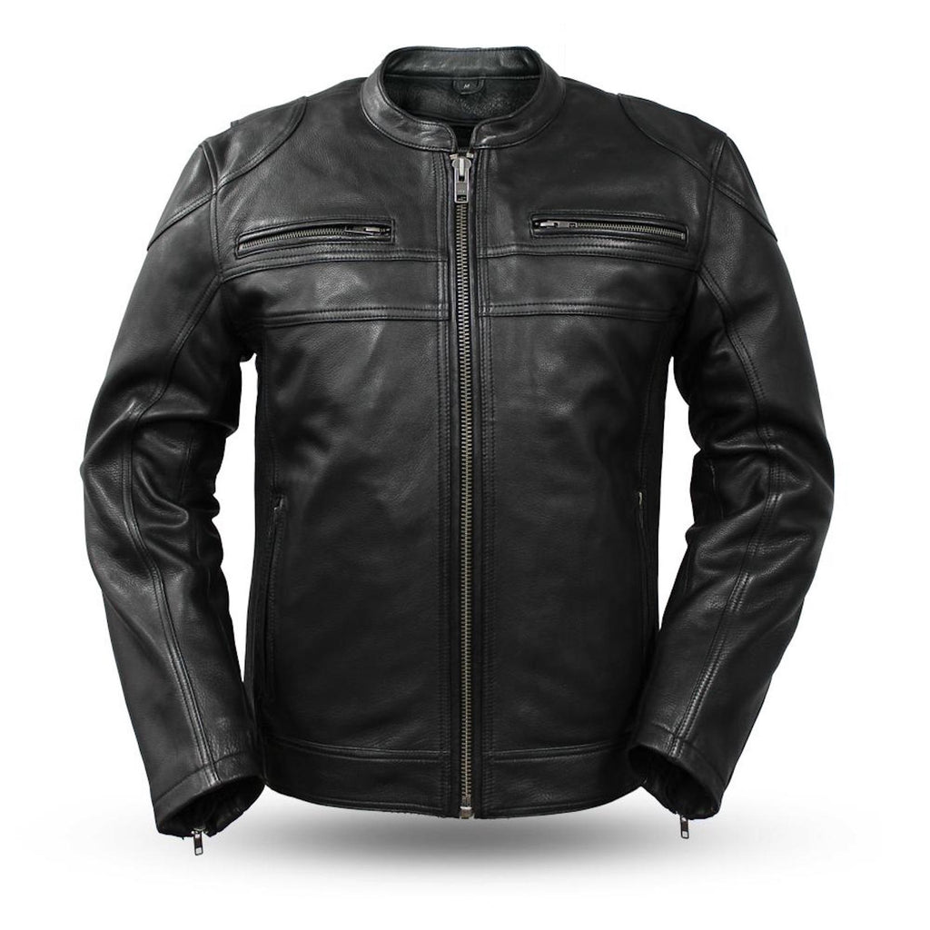 Nemesis Leather Scooter Style Mens Motorcycle Jacket Armor Pockets Side Stretch Panels