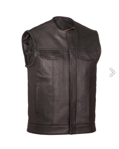 First Manufacturing No Rival Mens Black Naked Leather Motorcycle Vest with Concealed Snaps