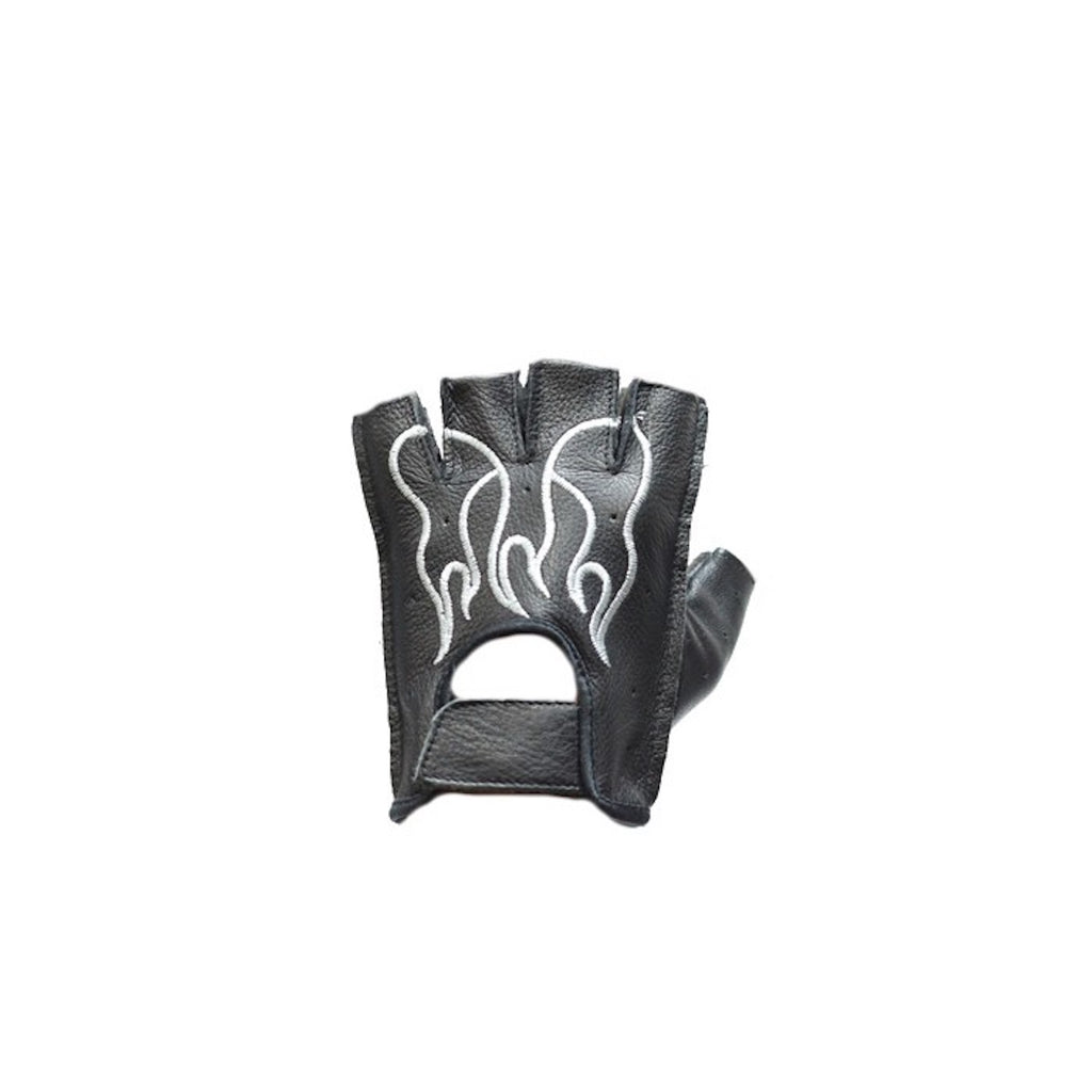 Fingerless Motorcycle Gloves With White Flames