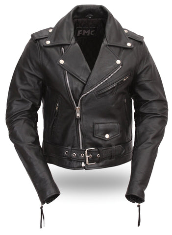 Bikerlicious Women's Black Leather Classic Style Classic Motorcycle Jacket