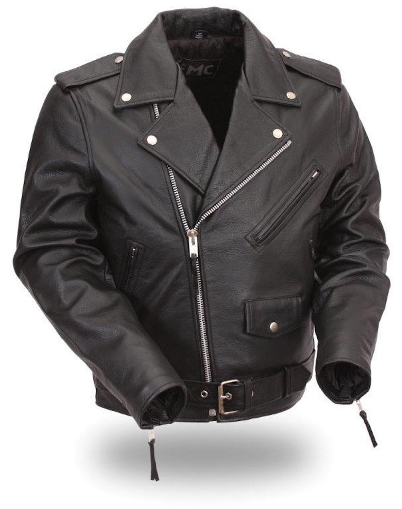 First Manufacturing Mens Classic Biker Style Leather Belted Motorcycle Jacket