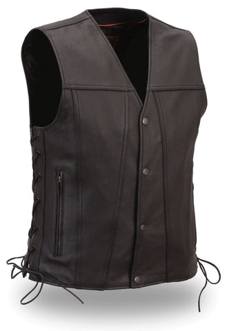 First Manufacturing Mens The Gambler Black Leather Motorcycle Vest Solid Back for Patches