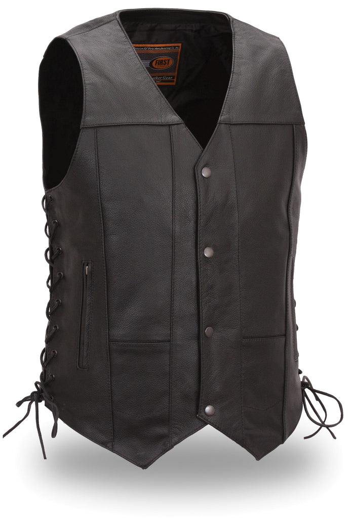 Top Biller Black Leather 10 Pocket Motorcycle Vest with Gun Concealment Pocket