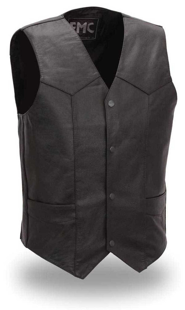 Top Shot Mens Light Weight Western Style Leather Motorcycle Vest