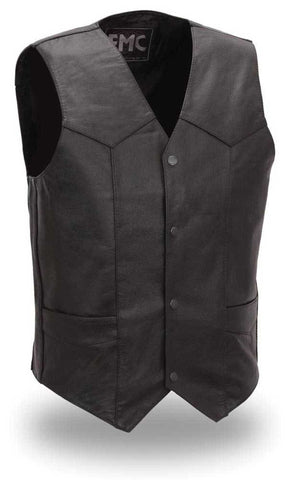 First Manufacturing Top Shot Mens Light Weight Western Style Leather Motorcycle Vest