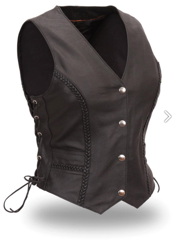 Trinity Vest Women's Black Leather Motorcycle Vest with Braided Front Silver Snaps