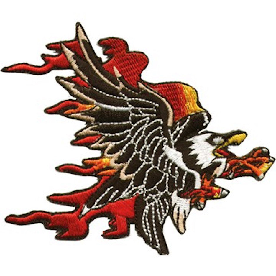 "Flaming Eagle Medium Motorcycle Vest Patch 7.5"" x 8"""