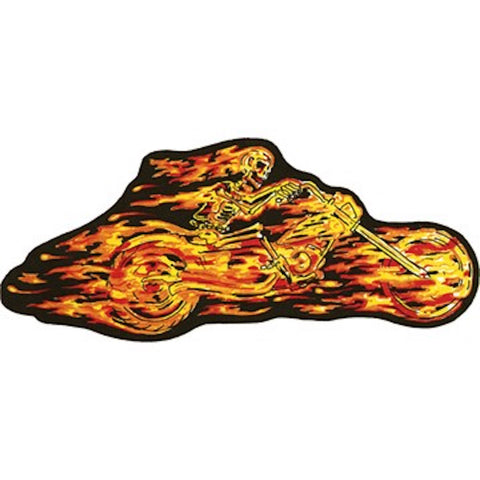 Flaming Skeleton Rider Large Motorcycle Vest Patch