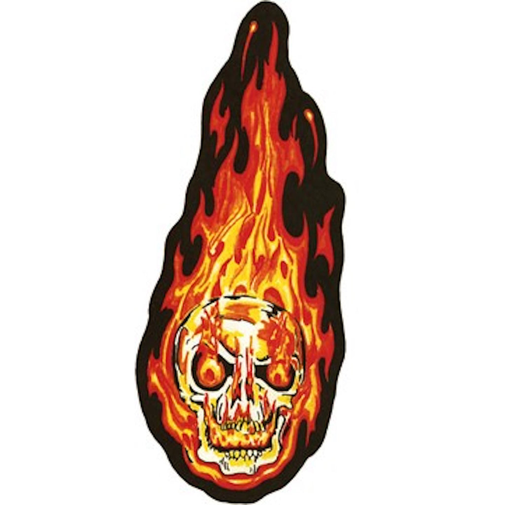 Flaming Skull Head Small Looking Left Motorcycle Vest Patch