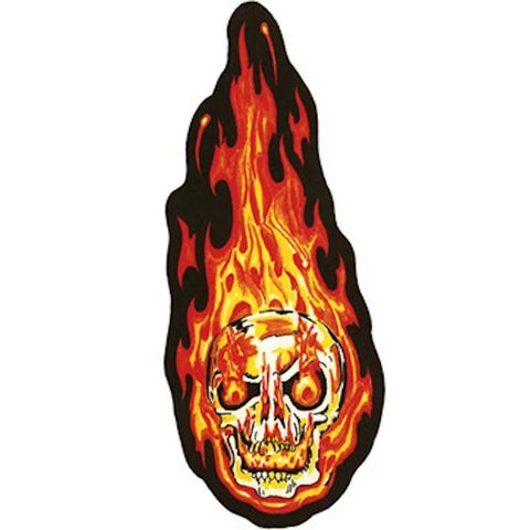 Flaming Skull Head Large Looking Right Motorcycle Vest Patch 10 x 4