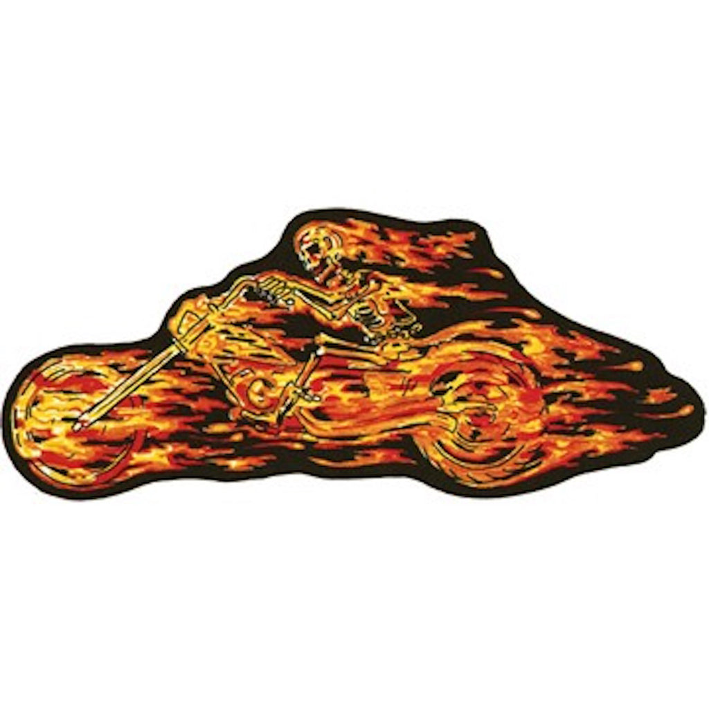 Flaming Skull Rider Left Large Motorcycle Vest Patch