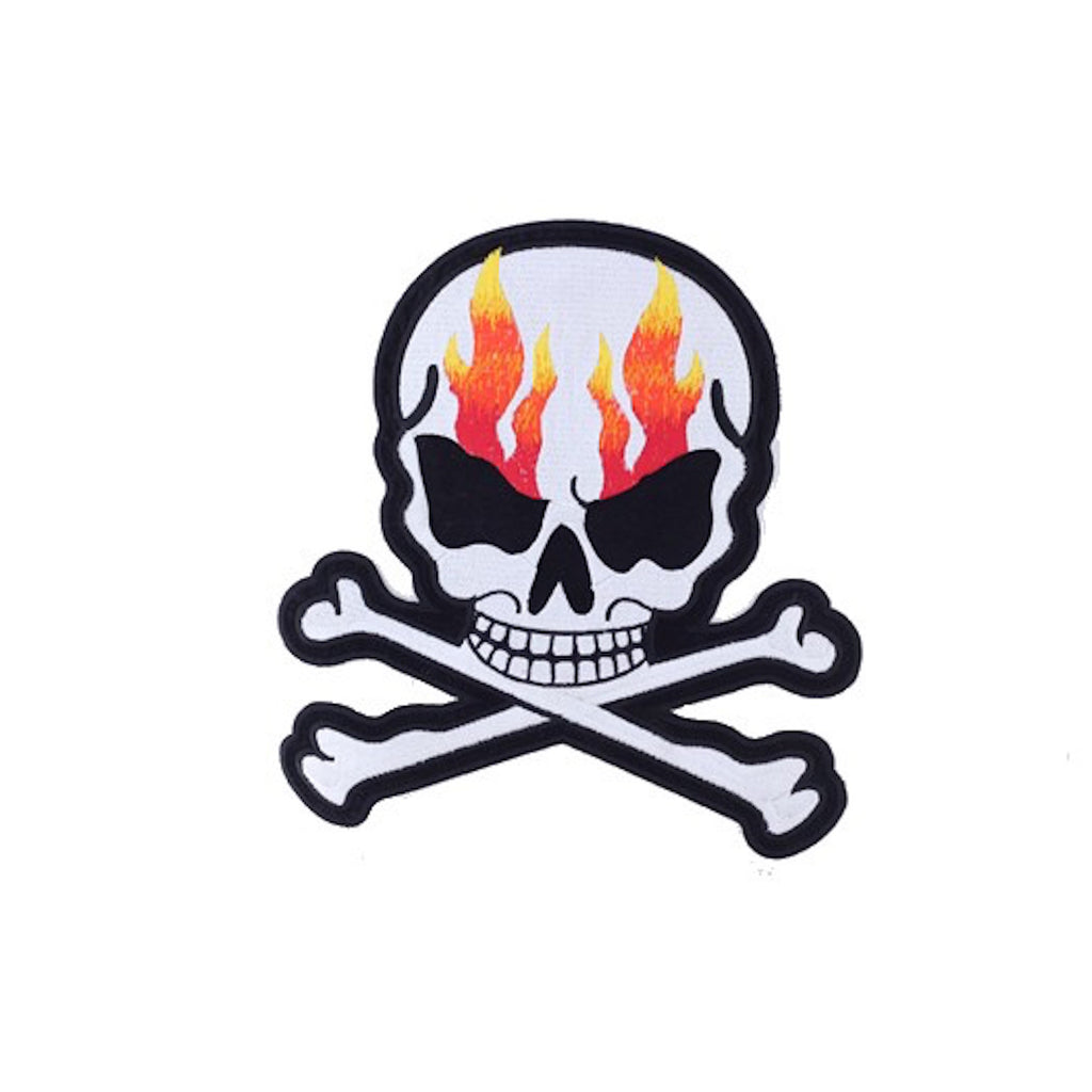 "Flaming Skull and Crossbones Large Motorcycle Vest Patch 8"" x 7"" …"