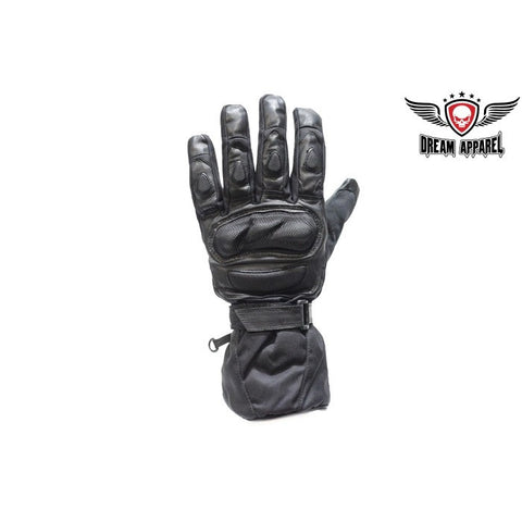 Motorcycle Padded Leather & Mesh Racing Gloves