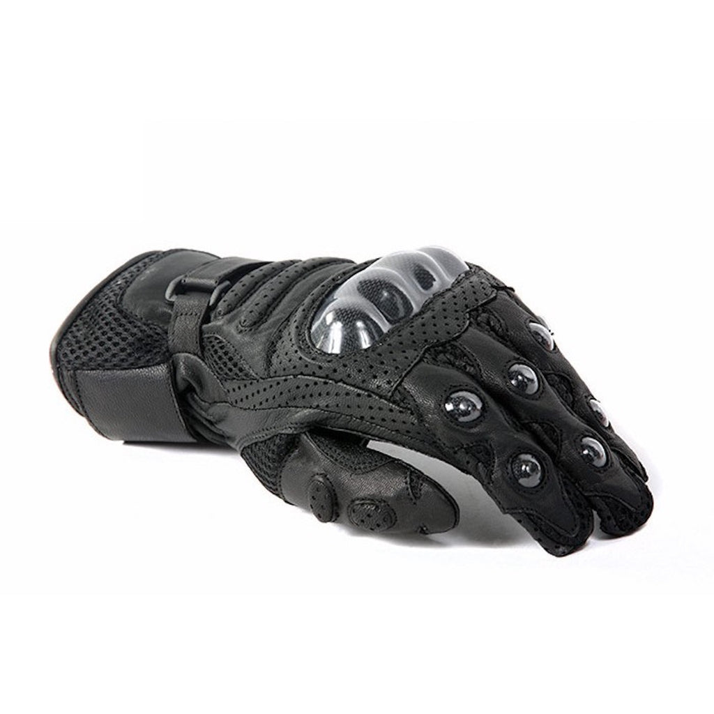 Perforated Hard Knuckle Leather Motorcycle Racing Gloves