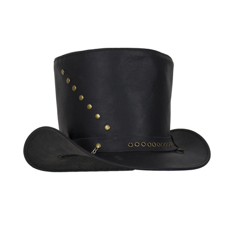 af50d02906d Genuine Black Leather Top Hat with Brass Studs