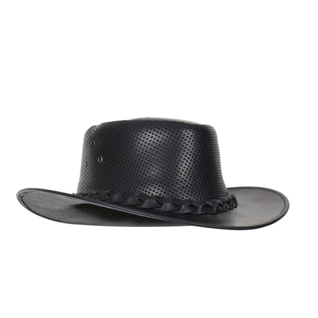 Genuine Black Naked Cowhide Leather Gambler Cowboy Hat