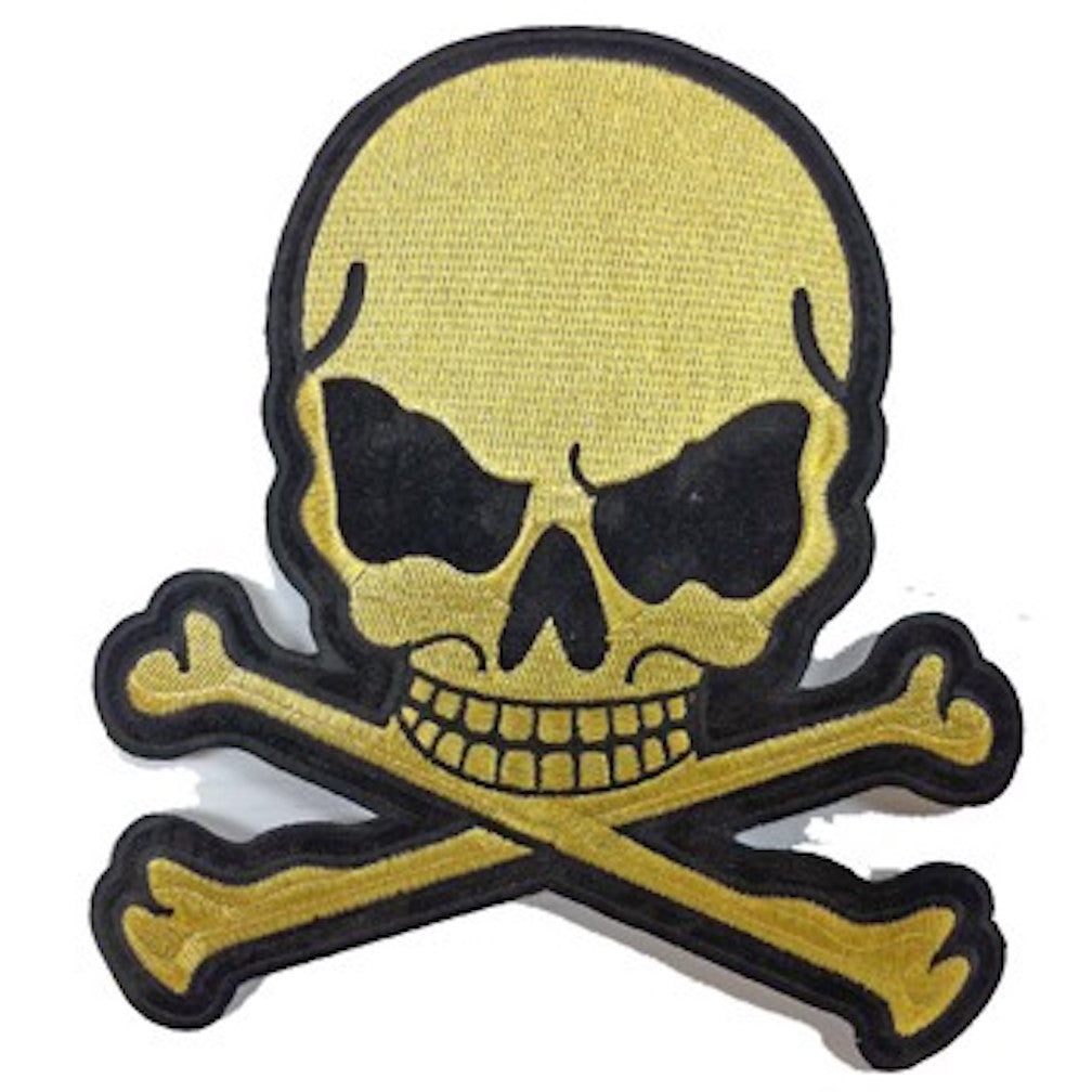 "Gold Metallic Skull and Crossbones Large Motorcycle Vest Patch 8"" x 7"""