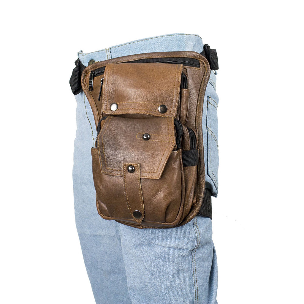 Gun Pocket Brown Leather Multi Pocket Thigh Bag Tactical Leg Bag