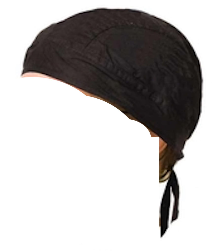 Skull Cap Headwrap Lined Solid Black