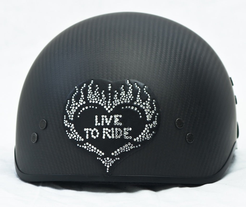 Heart Live To Ride Rhinestone Motorcycle Helmet Patch