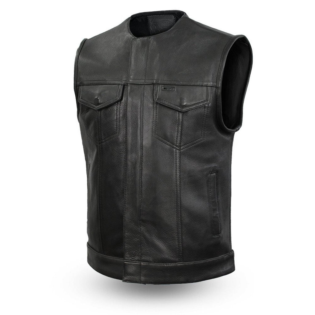 Mens Black 1.4mm Platinum Leather Motorcycle Club Style Vest Gun Pockets Solid Back