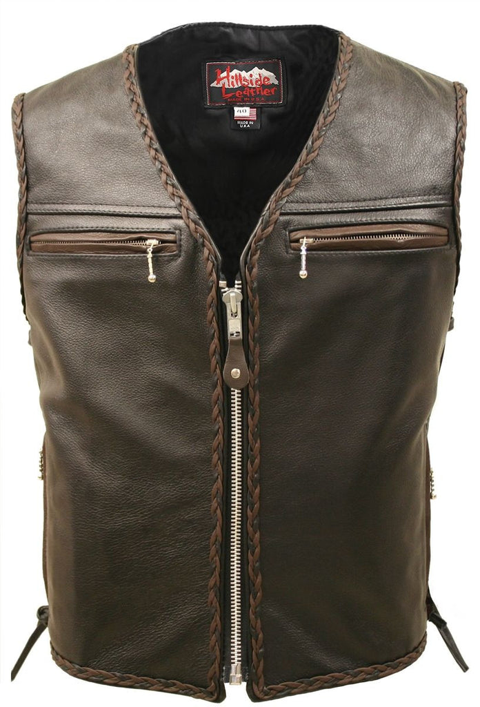Mens Made in USA The Elite Motorcycle Leather Vest Brown and Black Braiding