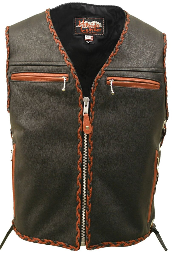 Mens Made in USA The Elite Motorcycle Leather Vest Orange/Black Braiding