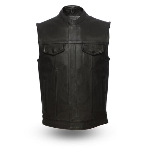 1.4mm Leather Motorcycle Club Style Vest With Gun Pockets Solid Back Hidden Zipper