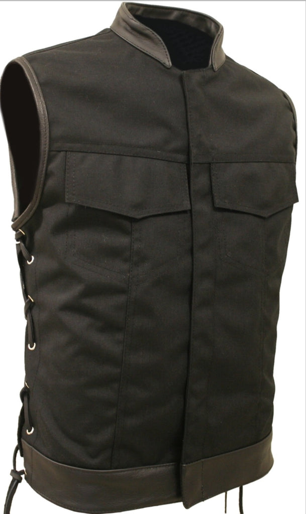 Mens Made in USA Black on Black Military Grade Cordura Motorcycle Vest Hidden Snaps