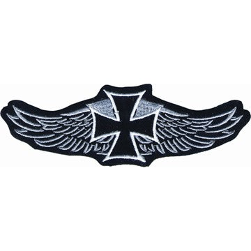 "Iron Cross With Eagles Wings Motorcycle Vest Patch 4"" x 9"""