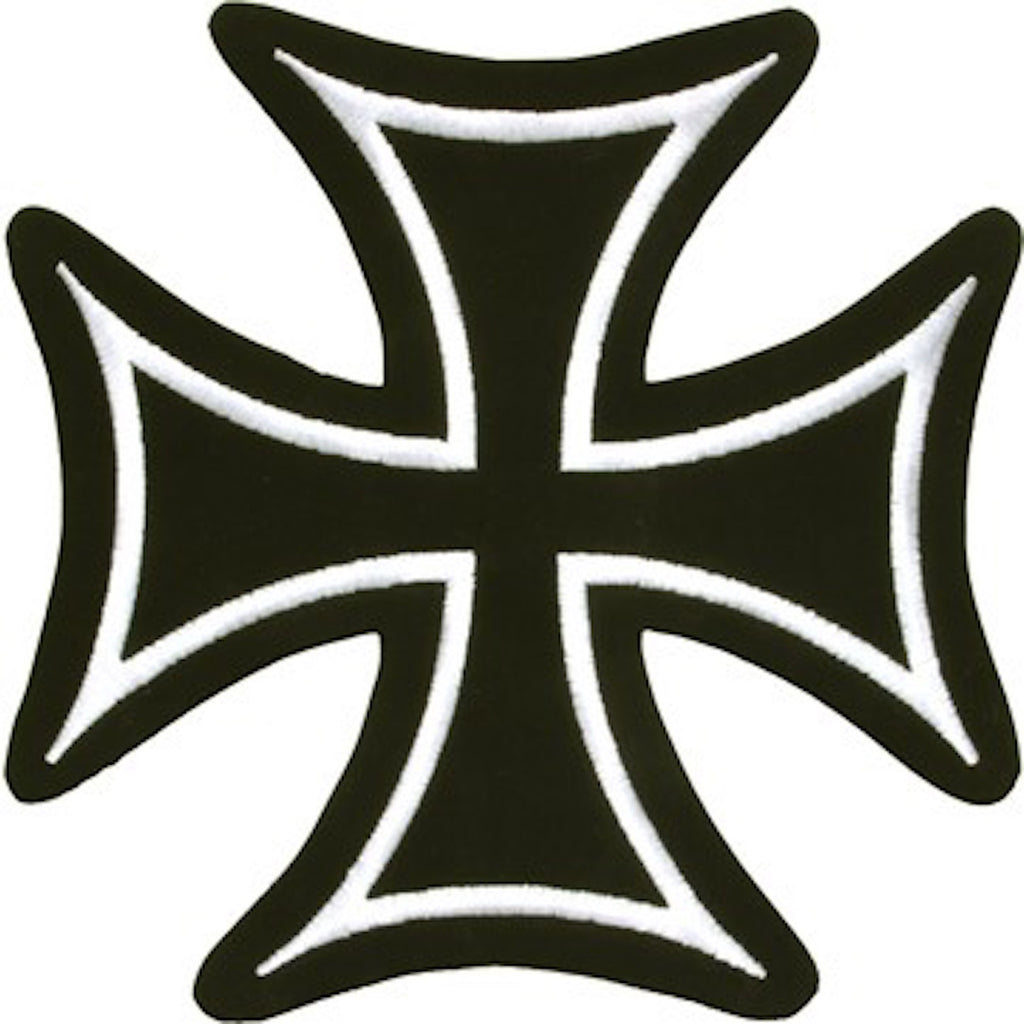 "Iron Cross With White Border Medium Motorcycle Vest Patch 5.5"" x 5"""