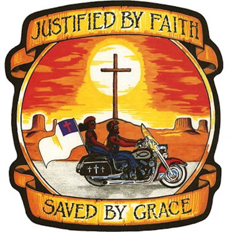 Justified by Faith and Saved by Grace Patch Small Motorcycle Patch