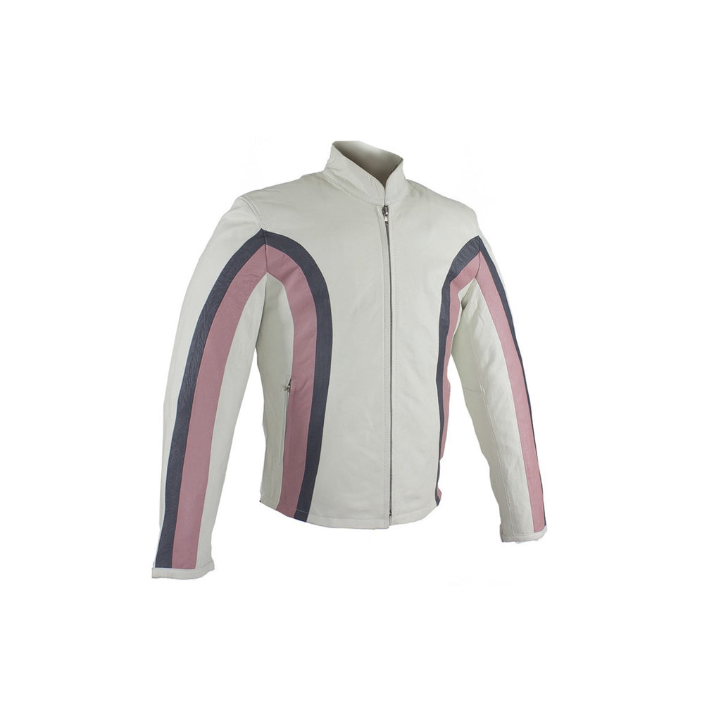 Women's Silver & Pink Striped Soft Leather Motorcycle Biker Jacket