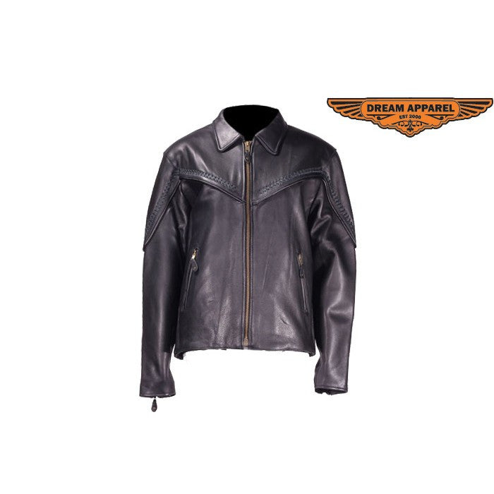 Ladies Naked Cowhide Motorcycle Jacket with Flat Braid Trim
