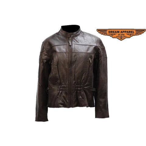 Ladies Retro Brown Cowhide Motorcycle Jacket Airvents & Zip Out Lining Hourglass Shape