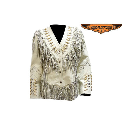 Ladies Off White Western Style Leather Jacket with Beads, Studs, Bone and Fringes