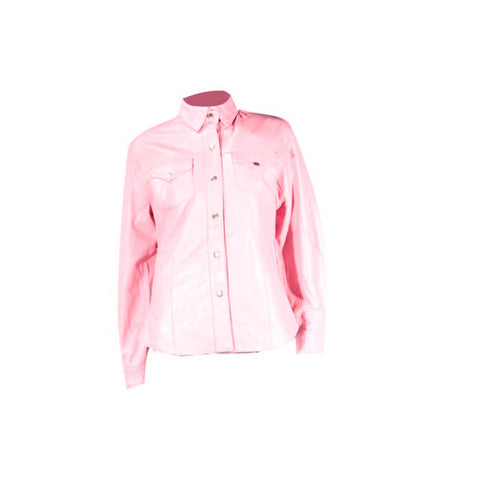 Ladies Pink Leather Shirt With Gun Pockets Snap Front And Lining