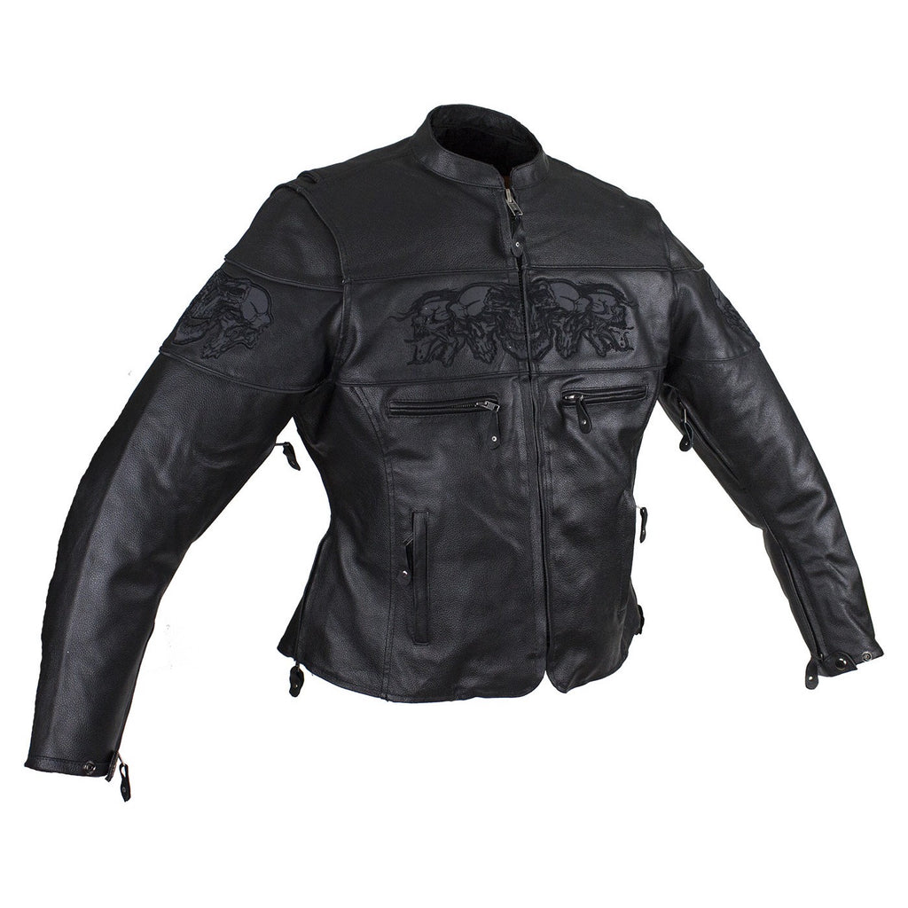 Womens Motorcycle Jacket With Reflective Skulls