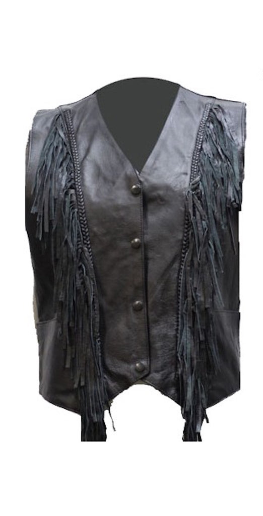 Womens Black Leather Motorcycle Vest With Braid and Fringes