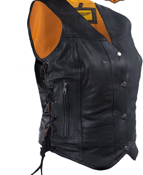Womens Cowhide Leather Motorcycle Vest With 7 Pockets