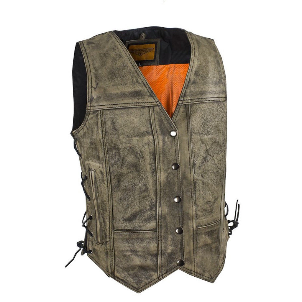 Womens Distressed Brown Naked Leather Motorcycle Vest