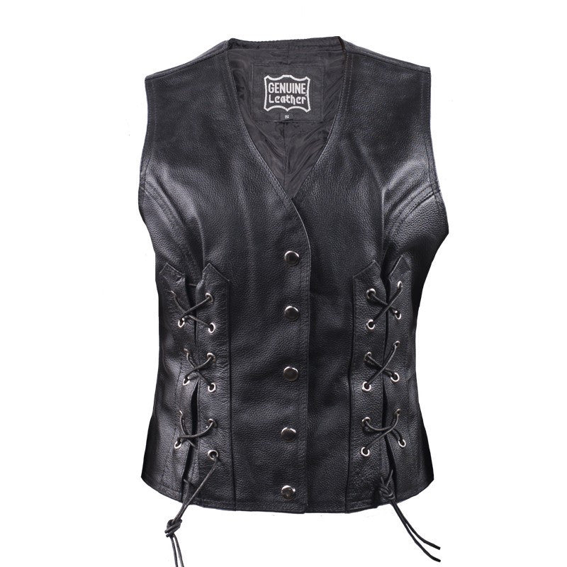 Women's Naked Leather Vest With Concealed Carry & Front Laces