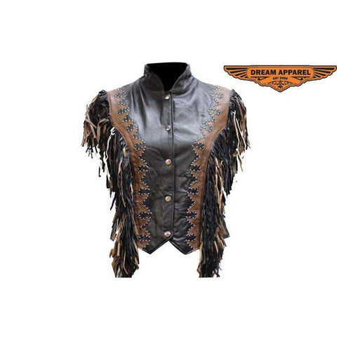 Ladies Black & Brown Vest wtih Beads, Bone, Braid & Fringes, Snaps